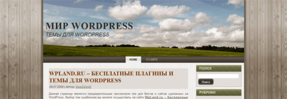 Тема WordPress с видом на поле