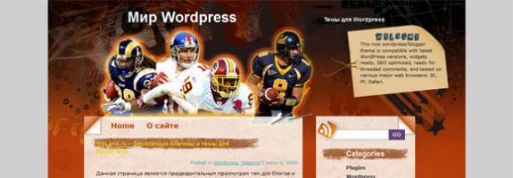 Американский футбол в WordPress: National Football League