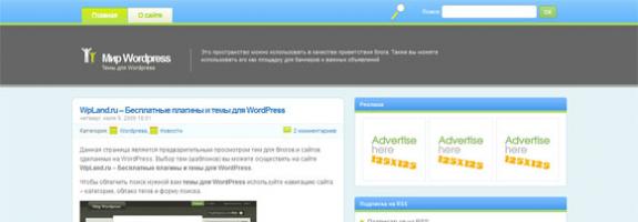 Голубой шаблон для wordpress: Vibrant