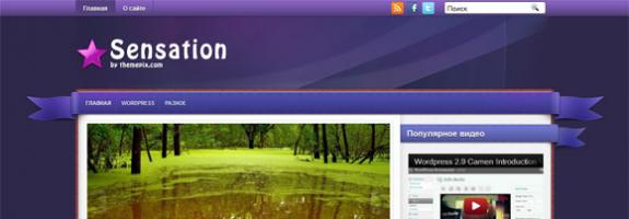 Современный шаблон wordpress: Sensation