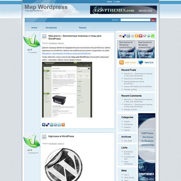 WordPress в голубом