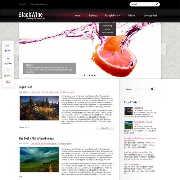 Кулинарный новостной шаблон для wordpress: BlackWine