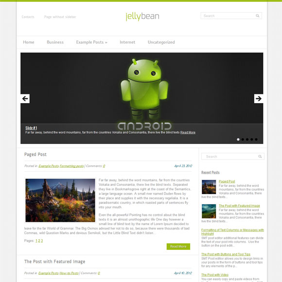 Android шаблон для wordpress от SMThemes: JellyBean